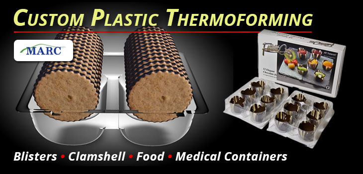 MARC Plastic Thermoforming Services offers custom made packaging for food, medical grade containers or trays, and point of sale.