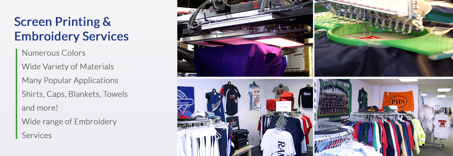 MARC provides Screen Printing and Embroidery Services